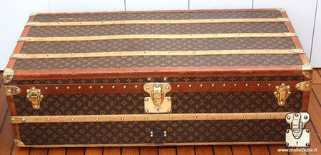 Malle cabine louis vuitton toile pochoir mark 4 bordures lozine