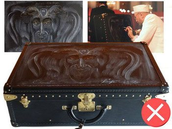 painting on a modern trunk, independently of the artistic side, this one greatly depreciates this magnificent Epi Louis Vuitton suitcase ...