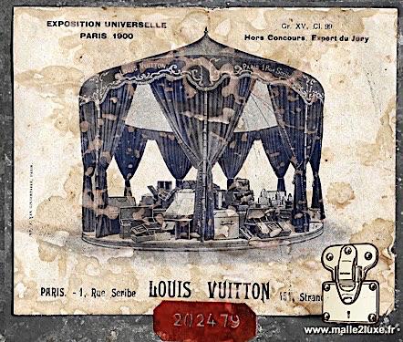 étiquette ancienne malle intérieur Louis Vuitton