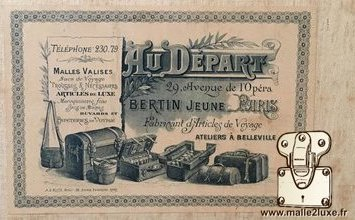 old trunk label at the start Bertin young Paris Au départ