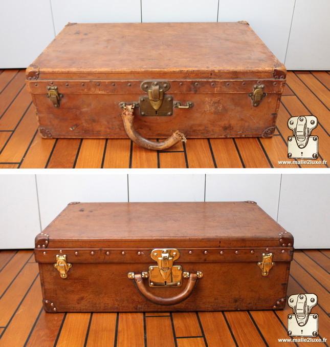 Valise Louis Vuitton Alzer cuir vintage poignée en cuir cassé réparé par Malle2Luxe