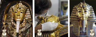 Restoration of all Tutankhamun masks (-1345 to -1327 BC). Discovered in 1922.