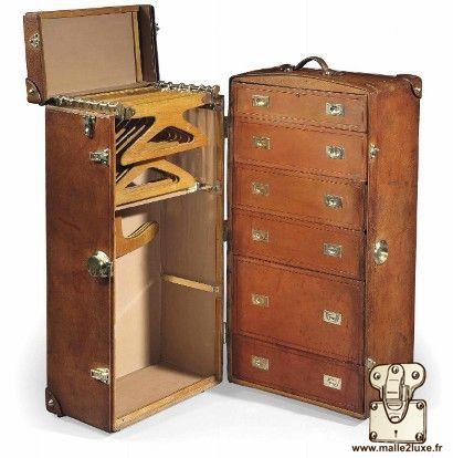 Hermes paris suitcase old leather trunk