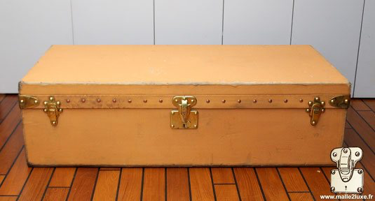 old lock Louis Vuitton car automobile trunk yellow