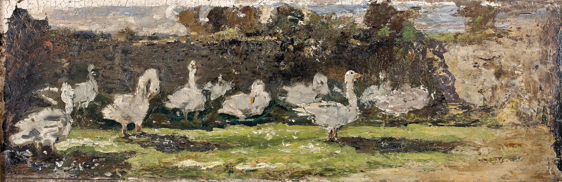 Félix Buhot, Les oies, Huile sur carton marouflé sur toile, vers 1880