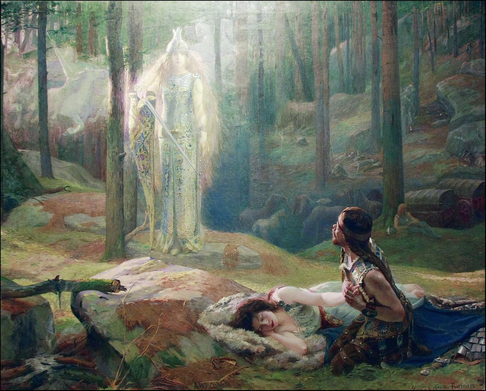 Gaston Bussière, La Révélation, Brünnhilde découvrant Sieglinde et Siegmund, huile sur toile, 1894  © J-M Enault