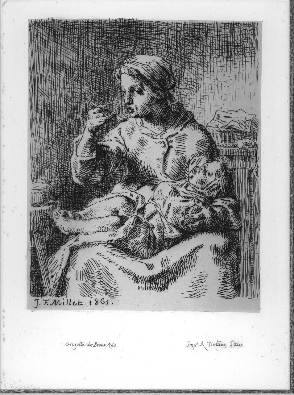 Jean-François Millet, La Bouillie, eau forte sur papier, 1861