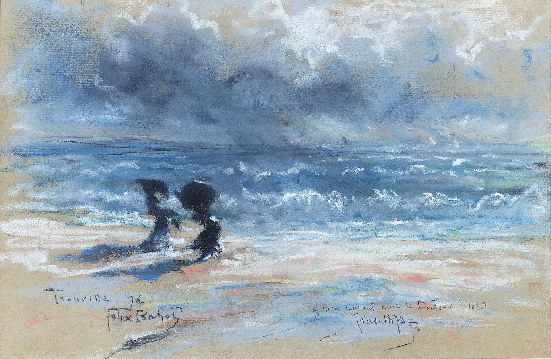 Félix Buhot,Deux femmes sur la plage de Trouville, pastel sur papier, 1876, © D.Sohier