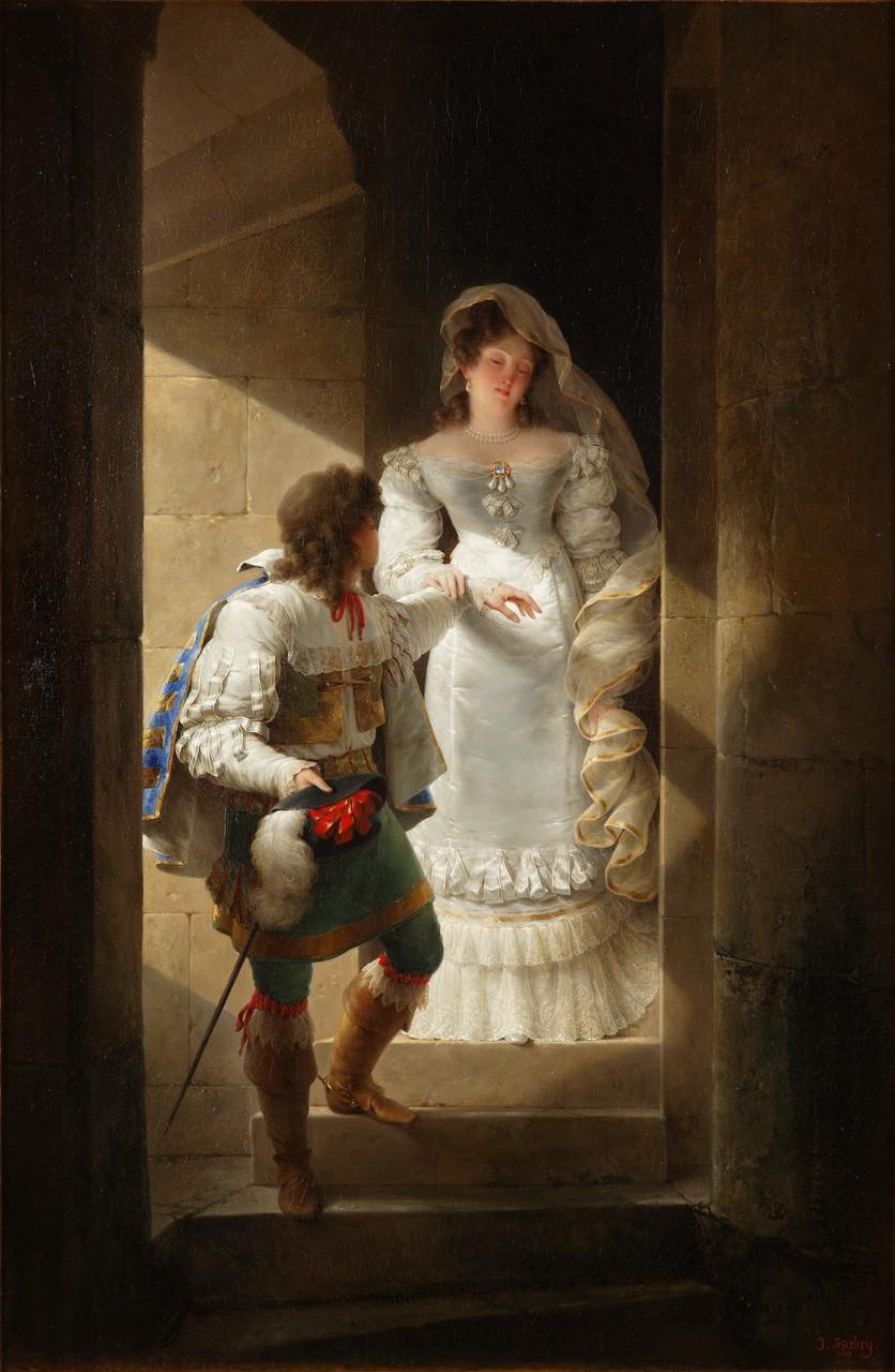 Jean-Baptiste Isabey, Escalier de la grande tour du château d'Harcourt Huile sur toile 1827, © D.Sohier