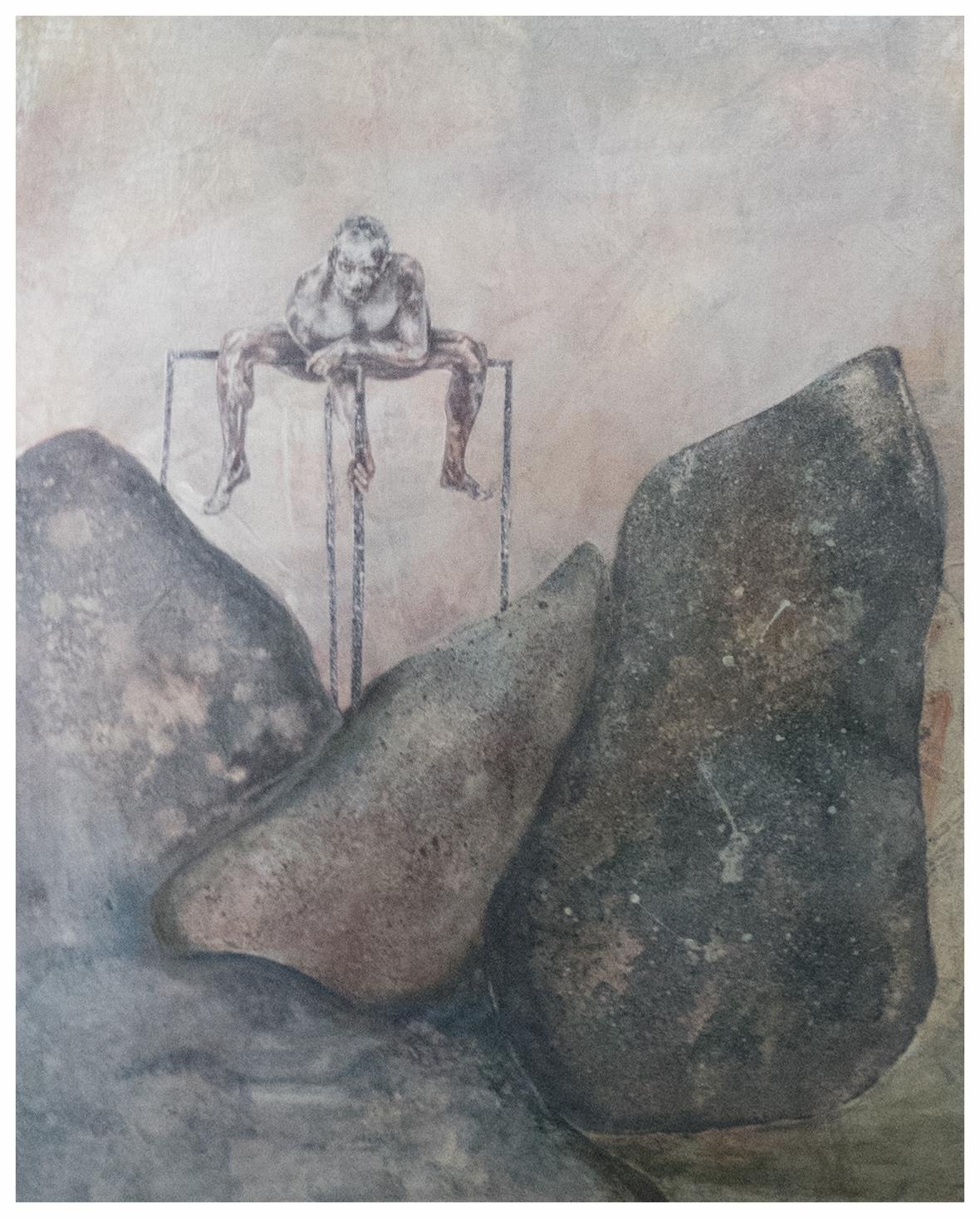 Balance - Acrylmalerei/Collage 30 x 40 cm