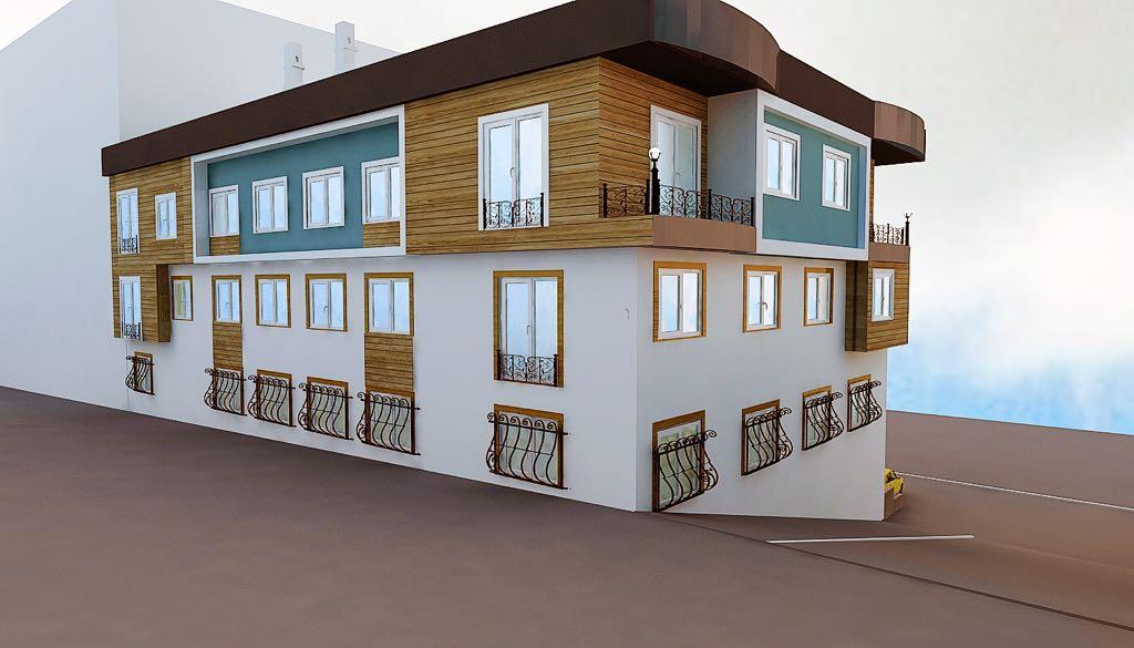 Moderne Außenfassaden. Alle Wohnungen mit Küche