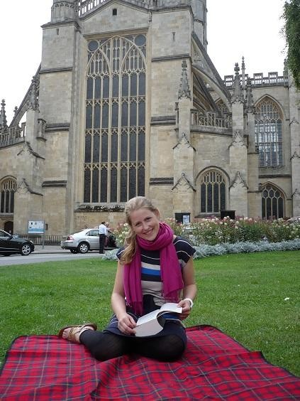 Me happily in front of the Bath Abbey