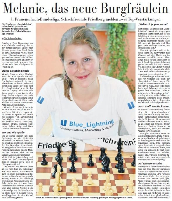 Melanie Ohme verstärkt Schachfreunde Friedberg in 1. Frauenschach-Bundesliga