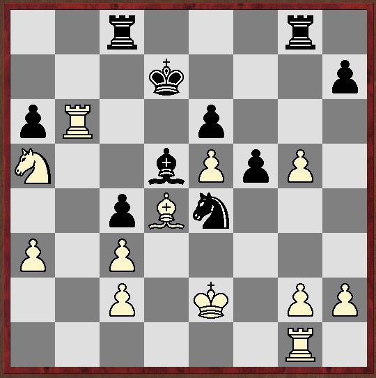 Stellung nach 24.fxg5. Girya spielte hier 24...f4