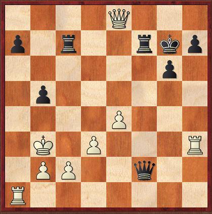 Stellung nach 32….Kg7. Weiß gewinnt!