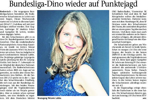 Zeitungsartikel über die Rodewischer Schachmiezen vom 21.10.2016