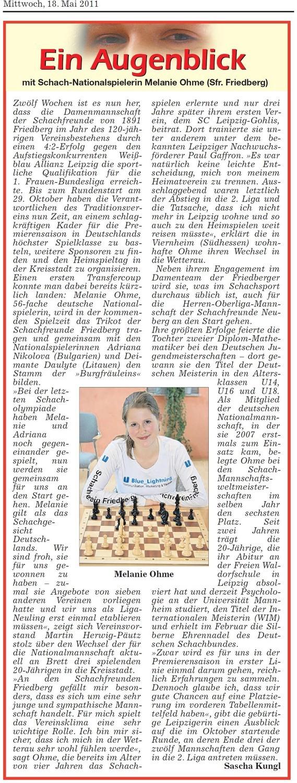 Zeitungsartikel Wetterauer Zeitung, Mai 2011, Melanie Ohmes Wechsel zu Schachfreunden Friedberg
