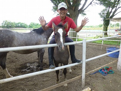 子馬とじゃれあい初騎乗