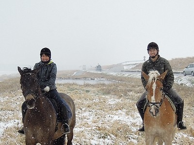 銀世界で馬と遊ぶ!