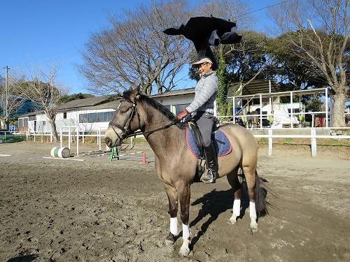 馬の上でコートを振り回す