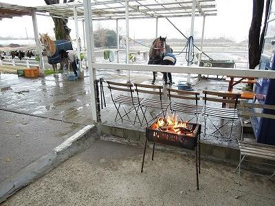 乗馬クラブの馬と焚き火で暖まろう