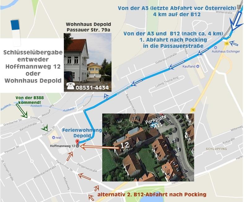 3 Anfahrtsmöglichkeiten zur Ferienwohnung:   1. Von der B388 im Norden; 2. der A94 / B12 im Westen von München kommend oder 3. von der A3 / B12 von Osten