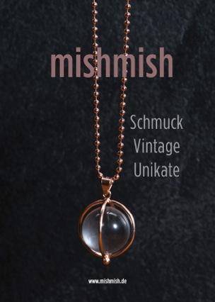 mishmish Vintage Unikatschmuck, Kette Roségold, Bergkristallkugel