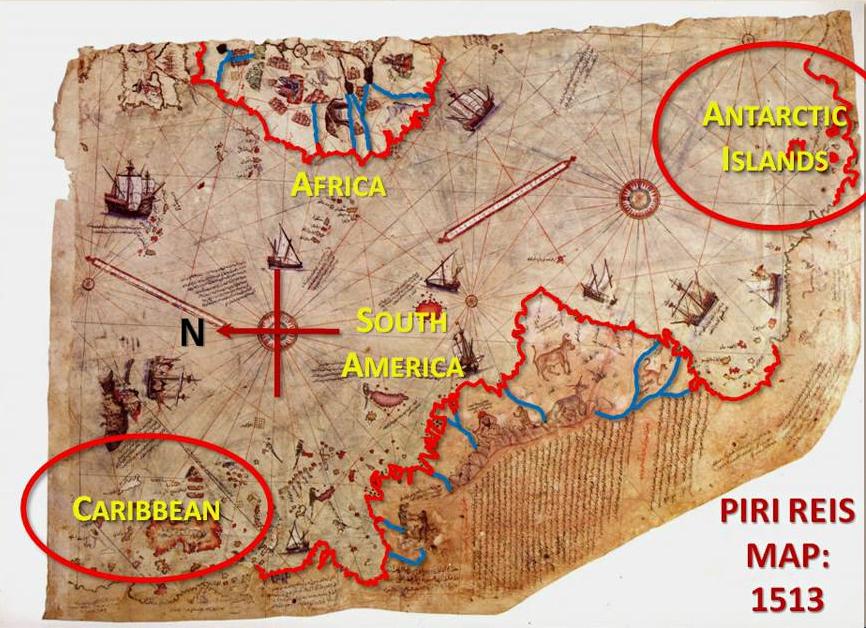 La mystérieuse carte de Piri Reis, avec l'Antarctique libéré de glace et proche de l'Amérique du sud.