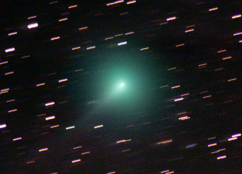 Comet ATLAS (C/2019 Y4) displays an 8.5-magnitude coma and a short, spiky tail on March 21, 2020. Chris Schur