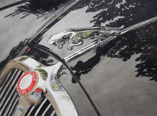 Black Jaguar, Jaguar, Black Car, Hood Ornament, Jaguar Hood Ornament, watercolour, water color, gloria, ainsworth, mout, Gloriaainsworthmout