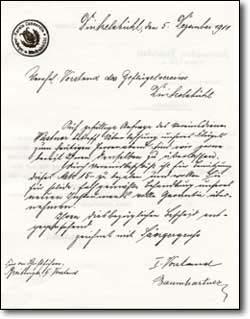 Schriftstück aus dem Jahre 1911