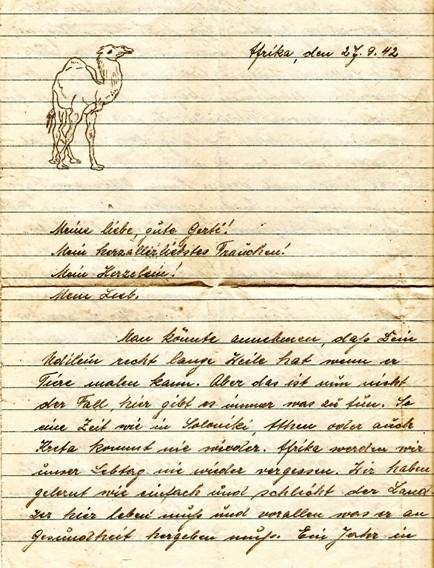 Auszug aus einem Feldpostbrief 1942, Originalhandschrift des Verfassers