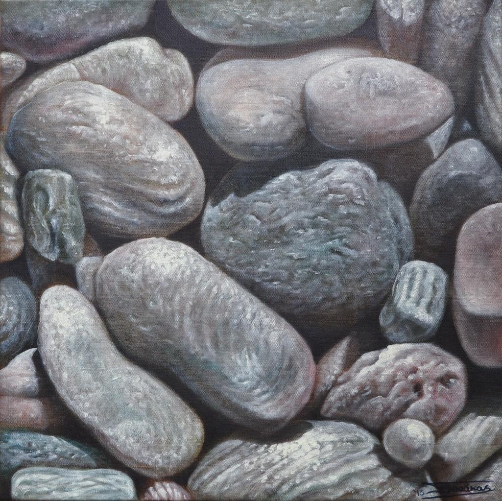 """""""Wet Pebbles #2"""" (50x50)cm, Huile sur lin brut (2013) - Collection privée"""