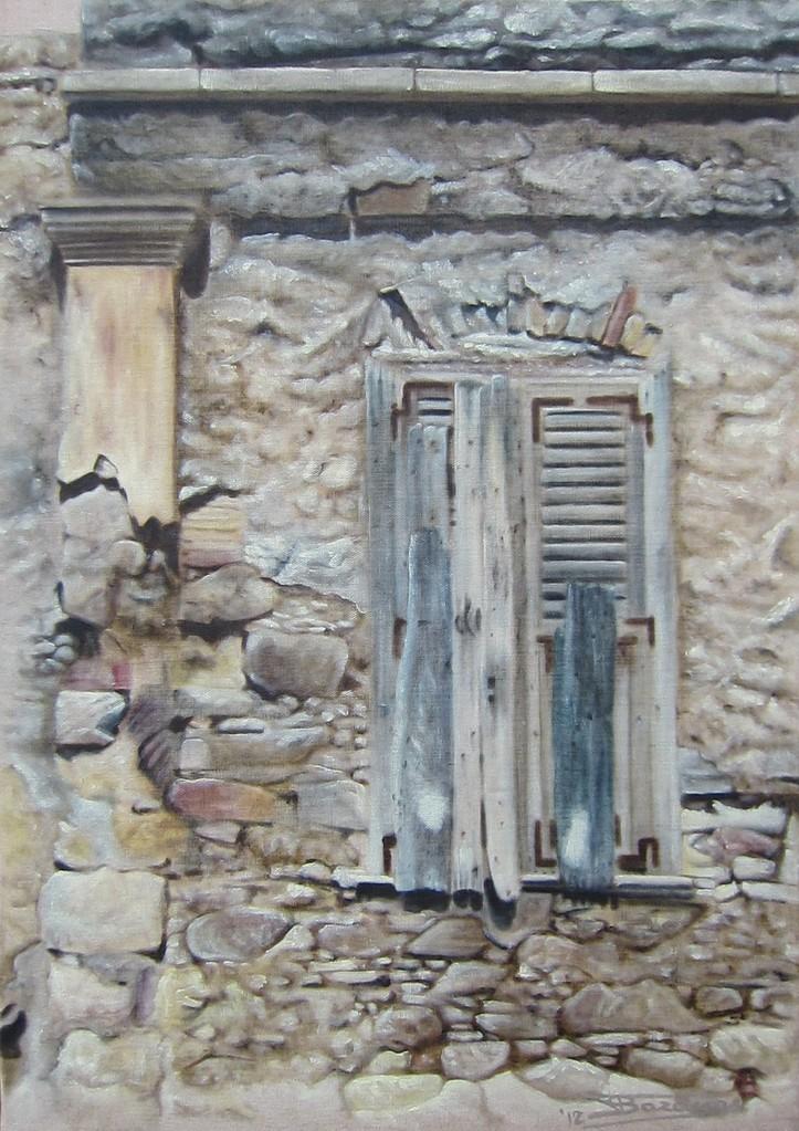 """""""Passage #12"""" (46x65)cm, Huile sur lin brut (2012) - Collection privée"""