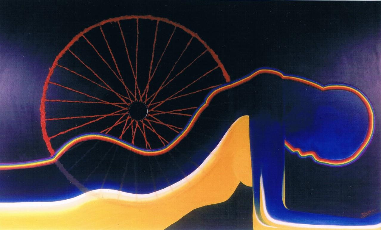 """""""Vélodrome Erotique"""" (200x120)cm, Huile et mirroir sur toile - Collection privée"""