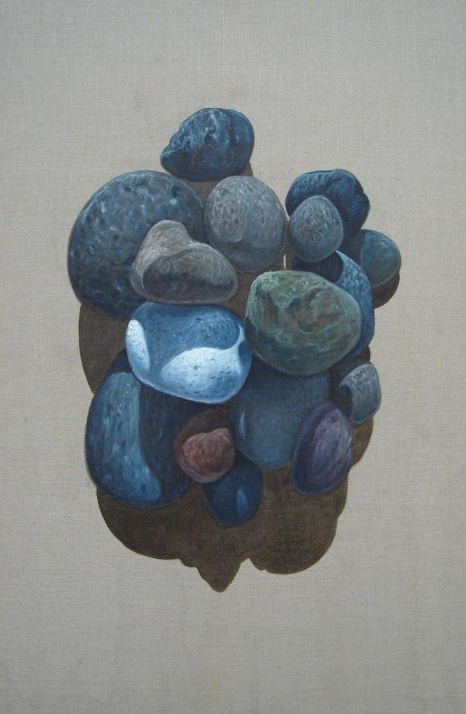 """""""Pierres #03"""" (65x100)cm, Huile sur lin brut (2010) - Collection privée"""