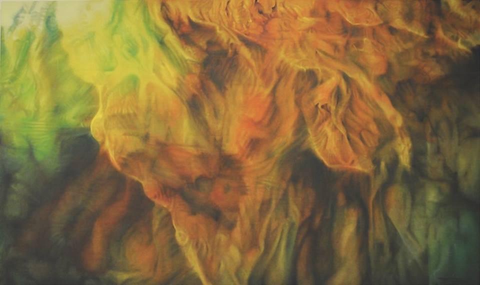 """""""Deep"""" (162x97)cm, Huile sur lin brut, 2014"""