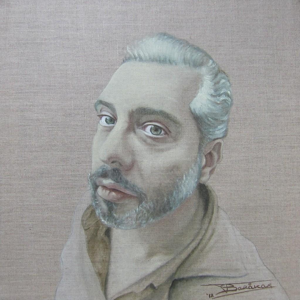 """""""Tassis"""" (50x50)cm, Huile sur lin brut, 2012 - Collection privée"""