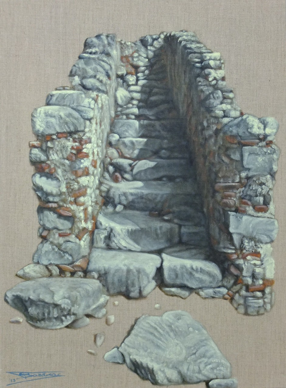 """Stairway to Nowhere""  (54x73)cm, Huile sur lin brut, 2013"