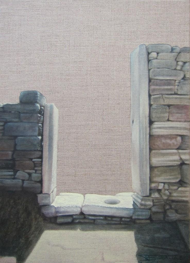 """""""Passage #0"""" (33x46)cm, Huile sur lin brut (2012) - Collection privée"""