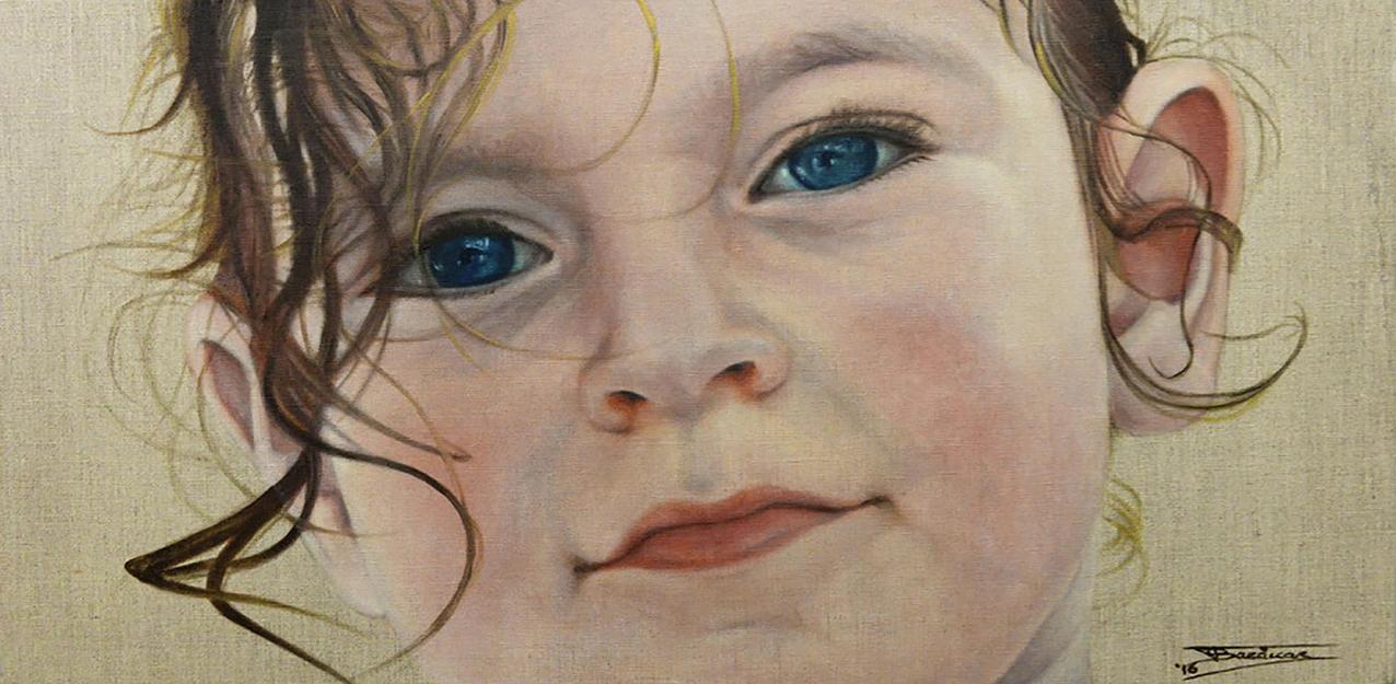 ''Maria A'' (40x80)cm, Huile sur lin brut, 2016 - Collection privée