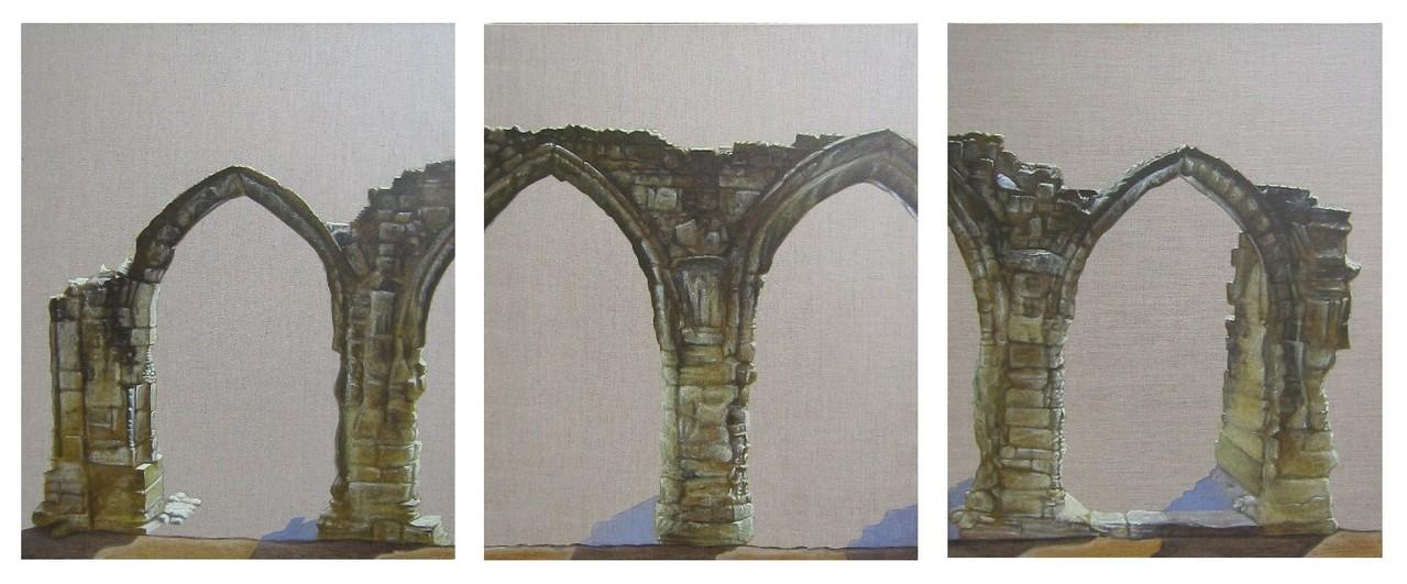 """""""Arcades""""  3x(65x81)cm triptyque, Huile sur lin brut, 2013 - Collection privée"""