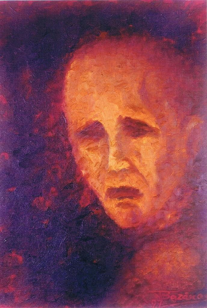 """""""La Cantatrice Chauve"""" (35x50)cm, Huile sur lin (1997)- Collection privée"""