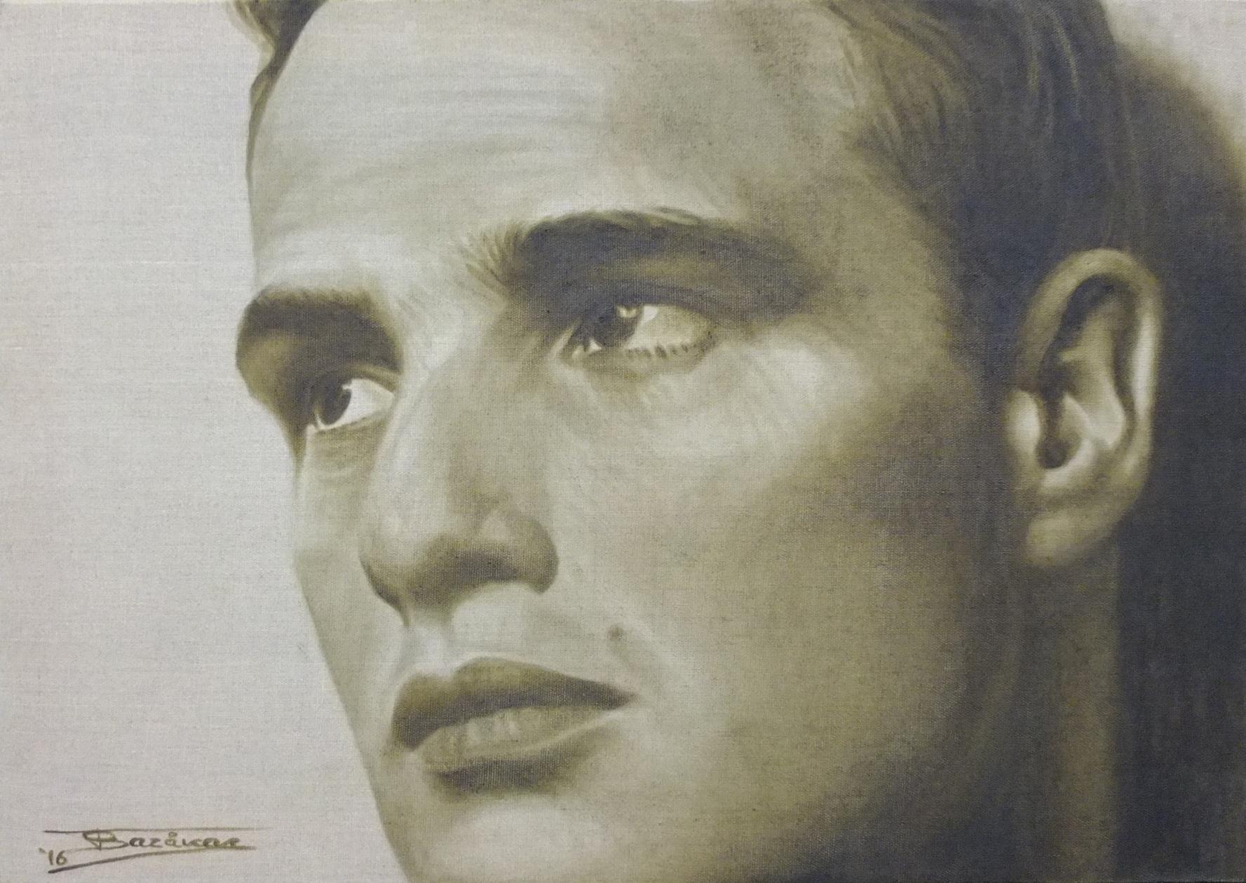 """""""Marlon""""  (65x46)cm, Huile sur lin brut, 2016"""