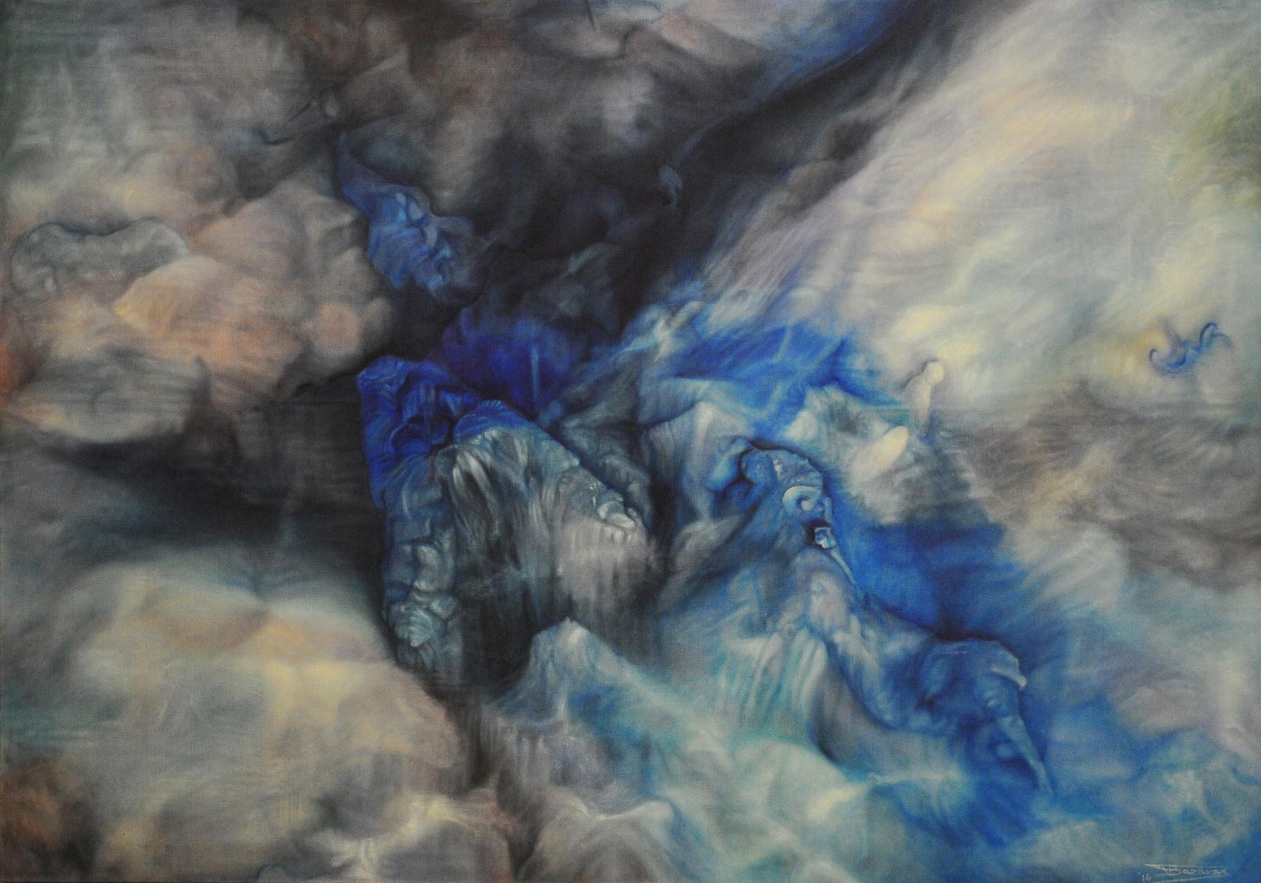 """""""Orgasm"""" (162x114)cm, Huile sur lin brut, 2014"""