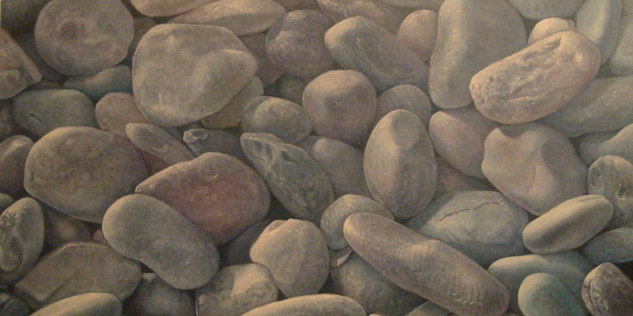 """""""Galets #0"""" (80x40)cm, Huile sur lin brut"""