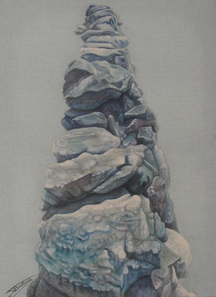 """""""Pierre Sèche #03"""" (60x81)cm, Huile sur lin brut (2010)"""