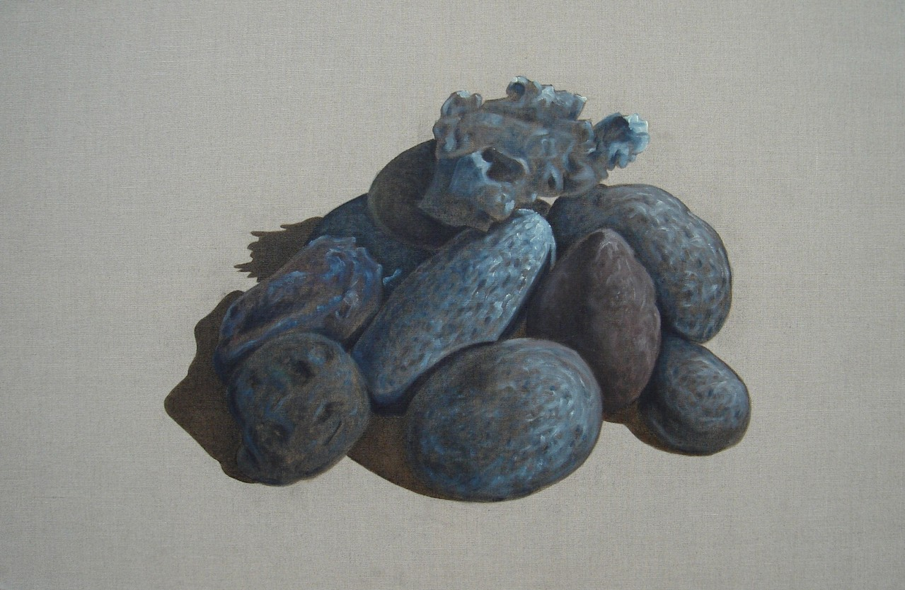 """""""Pierres #02"""" (100x65)cm, Huile sur lin brut"""
