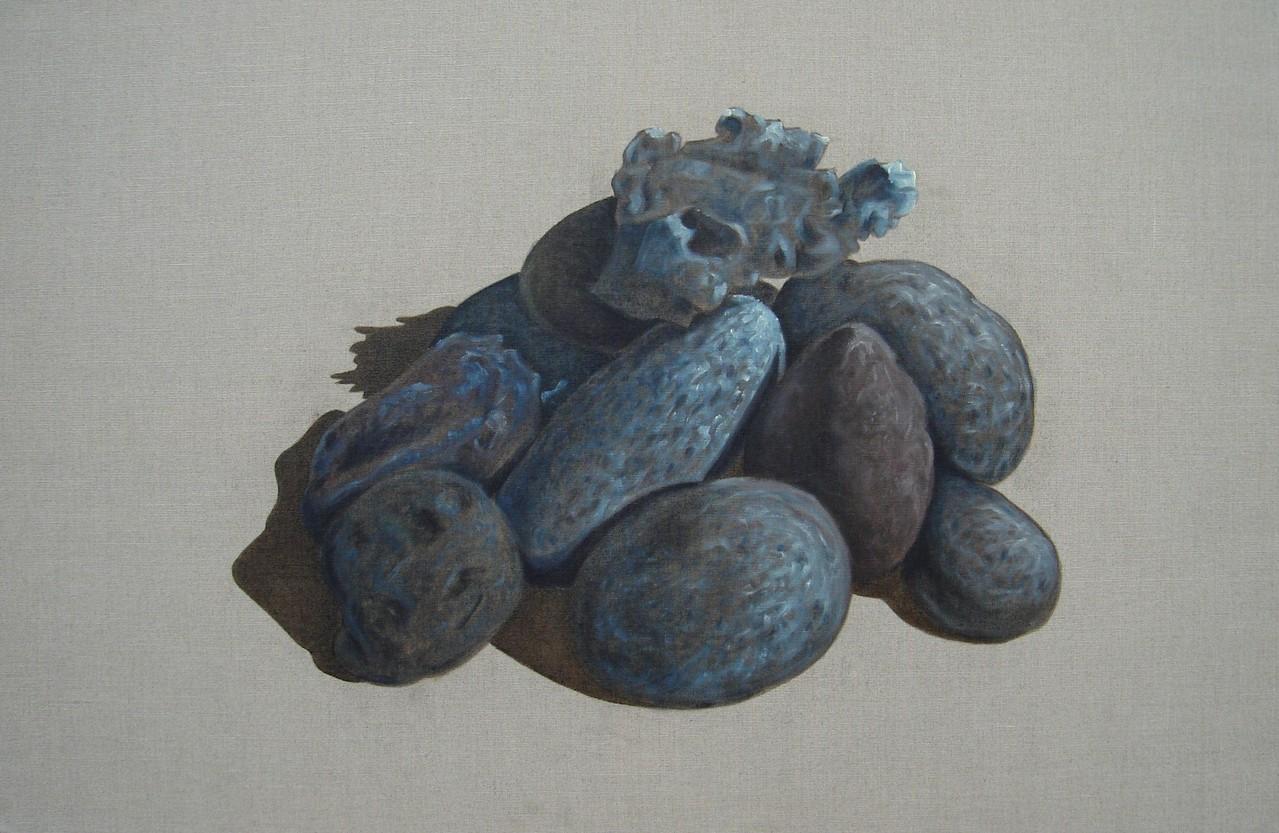 """""""Pierres #02"""" (100x65)cm, Huile sur lin brut (2010)"""