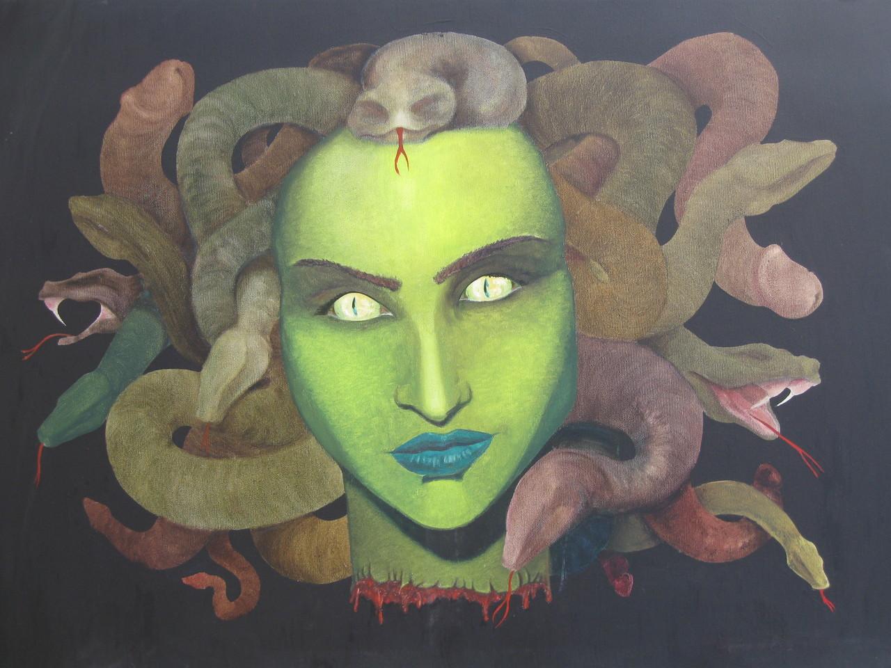 """""""Medusa"""" (80x65)cm, Huile sur lin"""